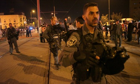Police at the site of Jerusalem stabbing attack