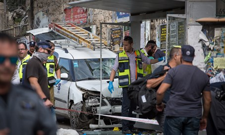 Emergency workers at site of Jerusalem car attack