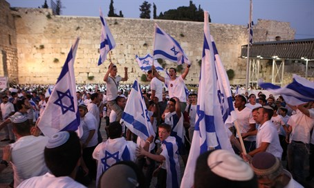 Israeli flags at the Kotel