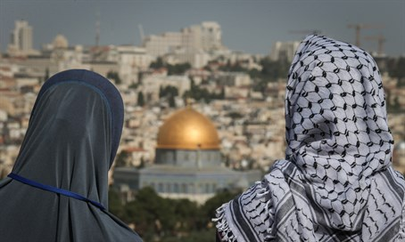 Arabs view Dome of the Rock on Jerusalem's Temple Mount (illustration)