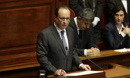 President Francois Hollande addresses emergency parliamentary session on Paris attacks