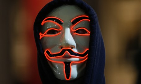 Supporter of Anonymous hackers group