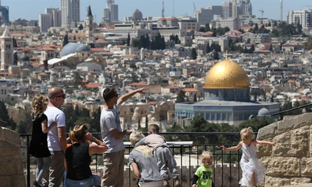 Tourists enjoy the sites in Jerusalem