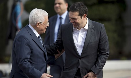 Greek PM Alexis Tsipras and PA chairman Mahmoud Abbas