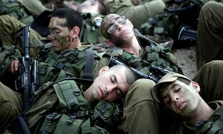 Soldiers sleep.