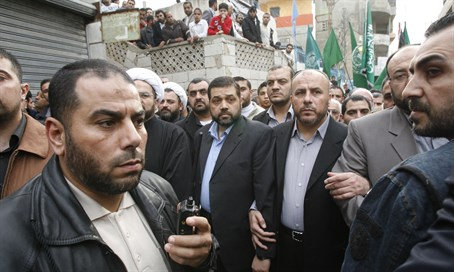 Hamas heads in Lebanon Ousama Hamdan (L), Ahmed Abdel Hadi (C) and Ali Baraka (R) (file)