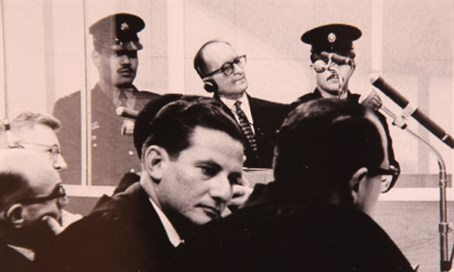 Gideon Hausner, Adolf Eichmann in background