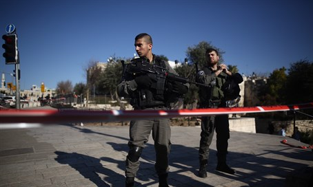 Israeli forces at scene of Damascus Gate shooting