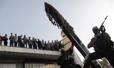 Hamas terrorists parade rockets (file)