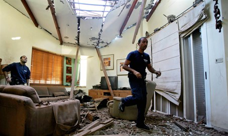 Scene of rocket attack on Israeli home (file)
