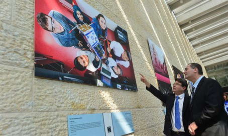 Yisrael Katz and Ofir Akunis at Ben-Gurion Airport exhibit