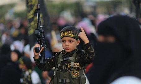 Palestinian child at Islamic Jihad rally (file)