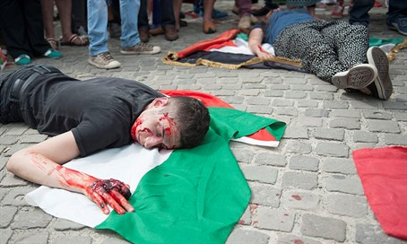 Palestinian supporters demonstrate in Brussels (illustration)