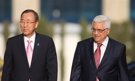 Ban Ki-Moon and PA head Mahmoud Abbas