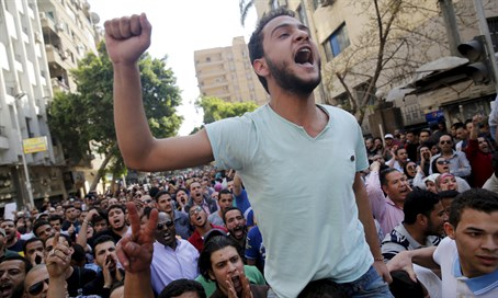 Egyptian protesters shout slogans against President Abdel Fattah al-Sisi and the governmen