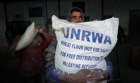 """Palestinian refugees"" get food hand-outs from UNRWA in Gaza (file)"