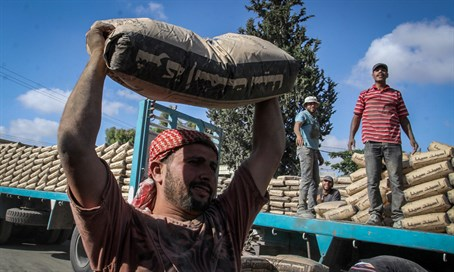 Cement enters Gaza through Rafah crossing, June 2015