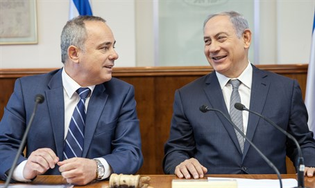 Binyamin Netanyahu and Yuval Steinitz at the Cabinet meeting