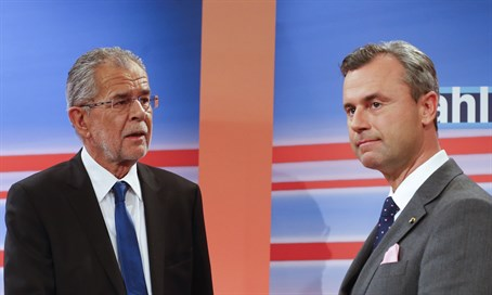 Freedom Party presidential candidate Norbet Hofer (R) with winner Alexander Van der Bellen