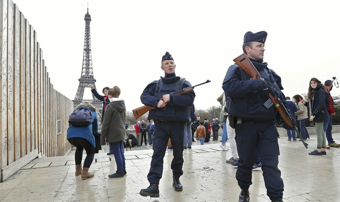 Police at the Eiffel Tower, Paris