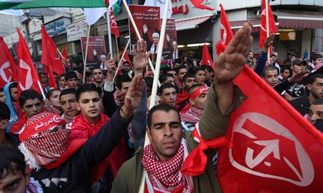 PFLP supporters do the Nazi salute (file)