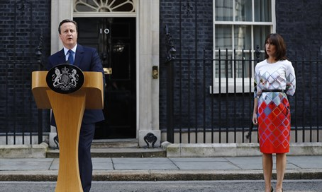Camerons and his wife outside 10 Downing Street