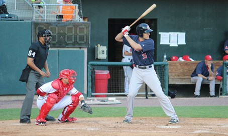 Nate Freiman at bat for the Portland Sea Dogs