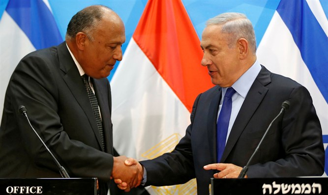 Prime Minister Netanyahu with Egyptian Foreign Minister Sameh Shoukry