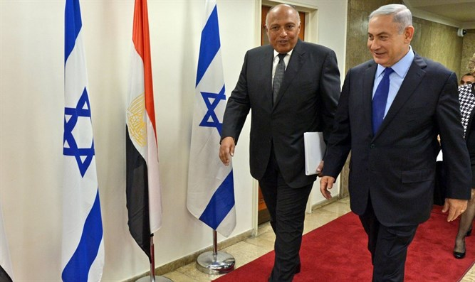 Prime Minister Netanyahu and Egyptian Foreign Minister Sameh Shoukry meeting in Jerusalem,