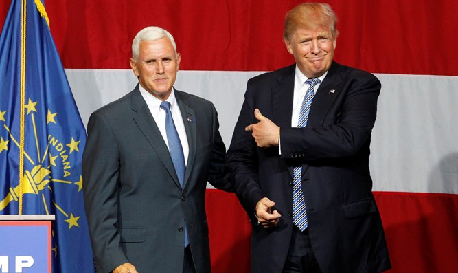 Donald Trump with Indiana Governor Mike Pence