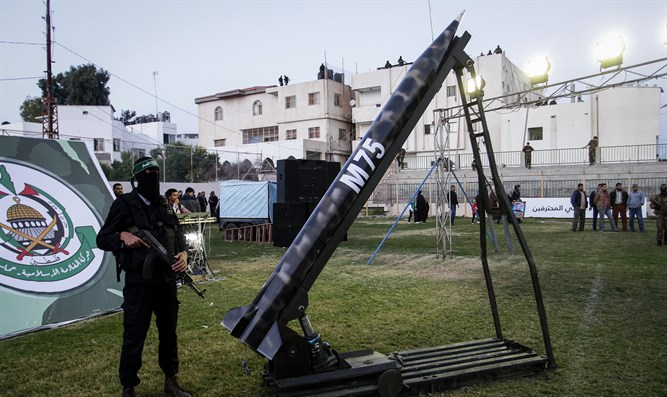 Hamas terrorist with domestically made M75 rocket