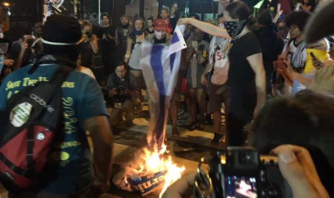Protesters burn Israeli flag outside DNC