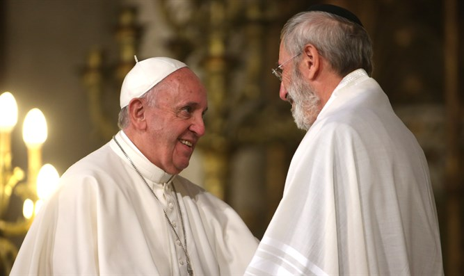Pope Francis, left, greeting the chief rabbi of Rome, Riccardo Di Segni, during a papal vi