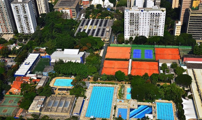 An aerial view of Sao Paulo's huge Hebraica club, the main meeting place for the city's Je