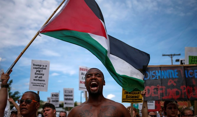 Black Lives Matter protest with Palestinian flag