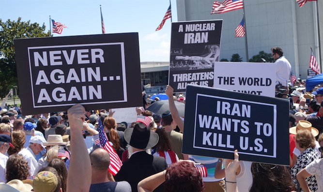 Hundreds of demonstrators in Los Angeles protesting the Iran nuclear deal