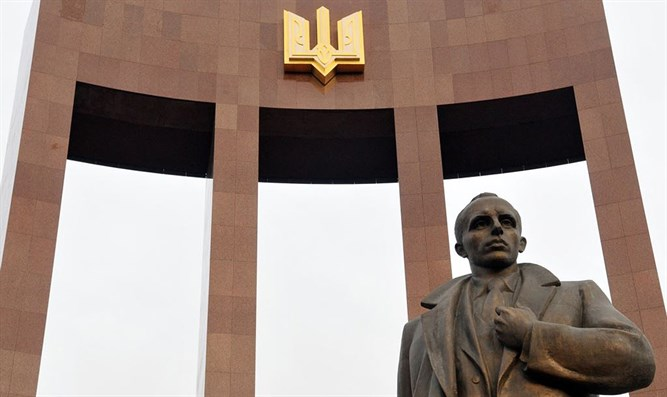 A statue of Stepan Bandera in Lviv, Ukraine