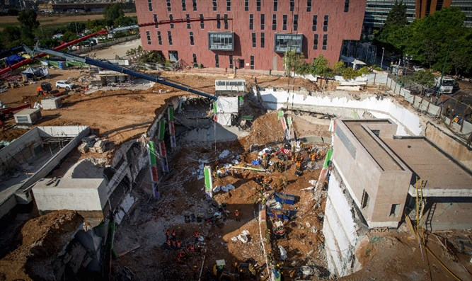 Scene of the parking garage's collapse