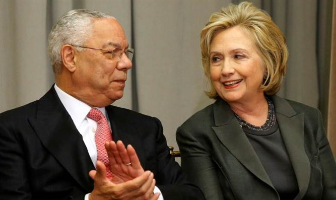 Colin Powell with Hillary Clinton