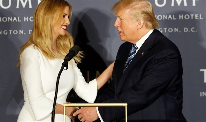 Donald Trump meets with his daughter, Ivanka, at ribbon cutting ceremony for new hotel