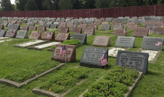 Flags planted by Jewish War Veterans of the United States Cleveland Post 14