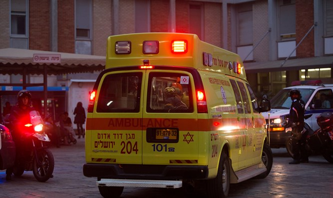 Ambulance carrying terror victim arrives at Hadassah Ein Kerem hospital