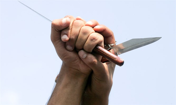 Arab terrorists brandish knives