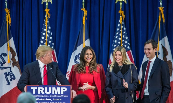 Trump with wife, Melania, daughter Ivanka, and son-in-law Jared Kushner