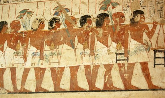 Ancient Egyptian tomb painting.