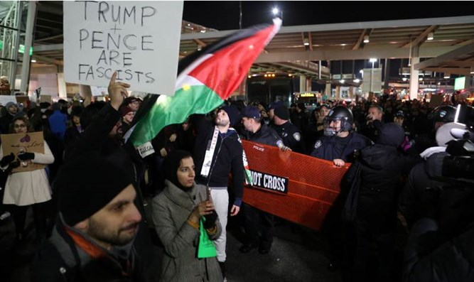 Protest at JFK airport against travel ban