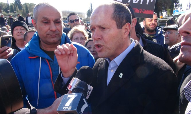 Nir Barkat at demonstration this week