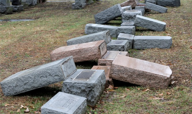 Toppled headstones at Chesed Shel Emeth Cemetery