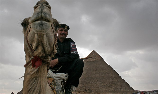 Egyptian soldier at Giza pyramids
