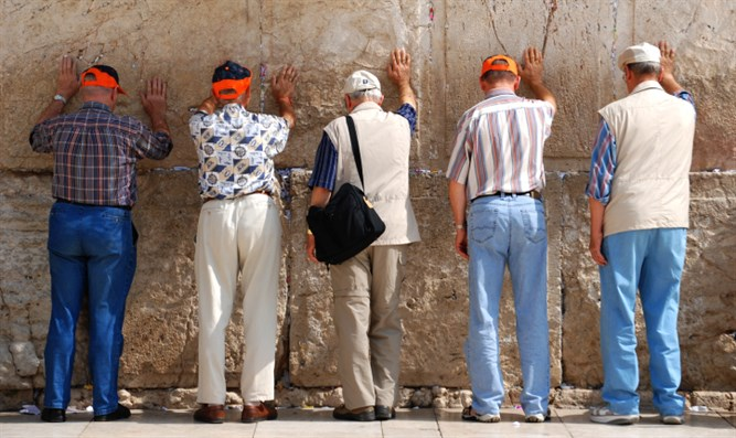 Tourists at Kotel (Western Wall) in Jerusalem